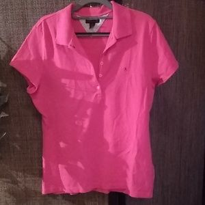 Women's pink Tommy Hilfiger polo shirt